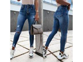 Dámske módne džínsy s vysokým pásom a trhaním