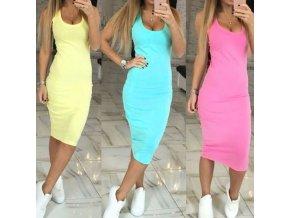 Dámske upnuté dlhšie šaty s výstrihom na ramienka