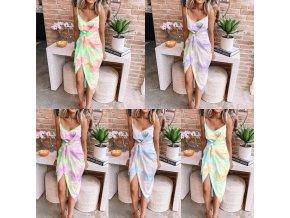 Dámske batikované šaty na ramienka zaväzovanie