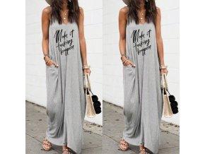 Dlhé letné šaty v šedej farbe s vreckami a nápisom - až 4XL