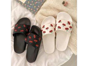 Dámske letné pohodlné šľapky zdobené čerešňami