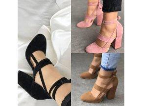 Dámske semišové topánky na širokom podpätku s mašľou na viazanie