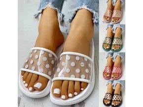 Dámske letné priehľadné papuče s bodkami vo viacerých farbách