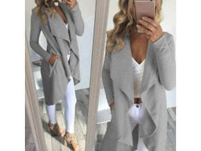Fashion womens casual lapel collar Windbreaker overcoat Duster OL Ladies Long Sleeve straight type Coat Jacket