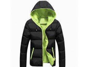 Pánská lehká zimní bunda černo-zelená s kapucí (Velikost 4XL)
