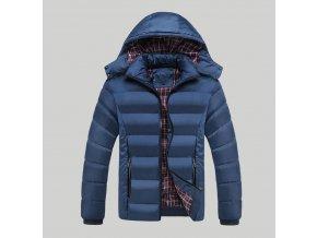 Pánská modrá zimní bunda s kapucí (Velikost XXL)
