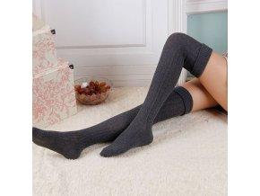 Zimní dámské pletené punčochy (Barva Šedá)