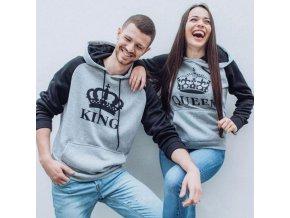 King / Queen sivočierna mikina