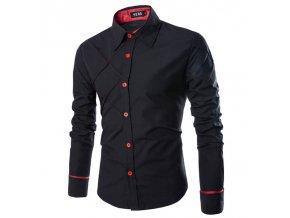 Pánska elegantná slim košeľa - čierna