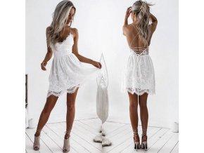 Sexy biele mini šaty na šnurovanie