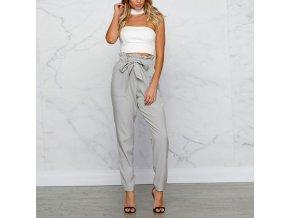 Luxusné dámske nohavice s mašľou v páse