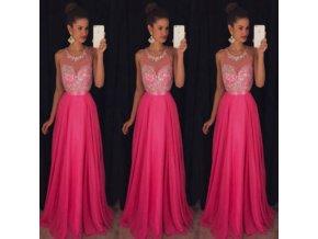 Dlhé kráľovské plesové šaty - ružové