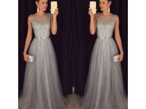 Dlhé kráľovské plesové šaty - sivé