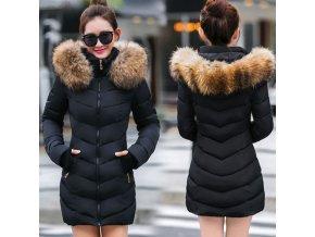 Dámska zimná dlhá bunda / kabát s kožušinou
