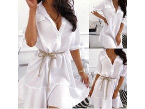 Sexy biele košeľové šaty