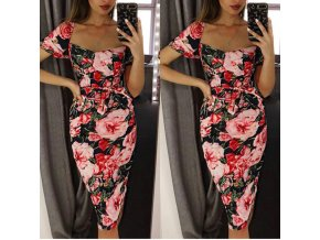 Midi puzdrové šaty s ružami