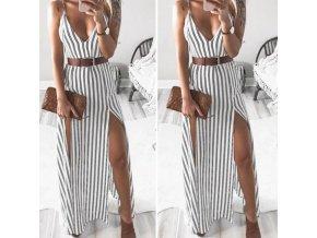 Letné pruhované šaty s odvážnymi rozparkami