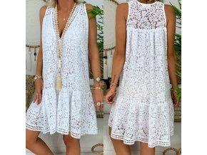 Letné biele krajkové šaty - až 3XL