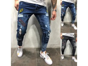 Pánske štýlové trhané džínsy s nášivkami - 2 farby