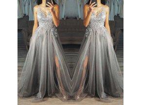 Plesové šaty s čipkou v holubia šedi