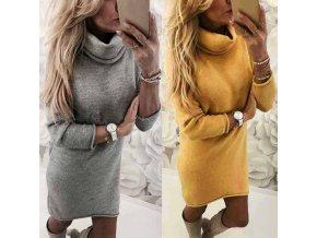 Dámske jesenné hrejivé šaty s rolákom - štýlové farby sivá + žltá