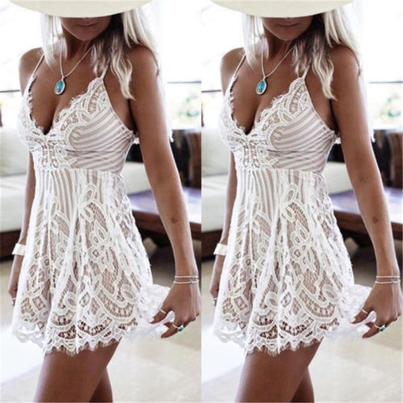 51509177e5b2 Sexy dámske letné krajkové mini šaty - OHAKNISA.SK