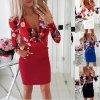 Jesenné midi šaty s kvetmi - až 3XL