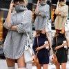 Teplé svetrové šaty s rolákom