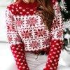 Dámsky pletený sveter s vianočnými motívmi z pohodlného materiálu