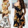 Letné kvetované šaty s žabičkováním