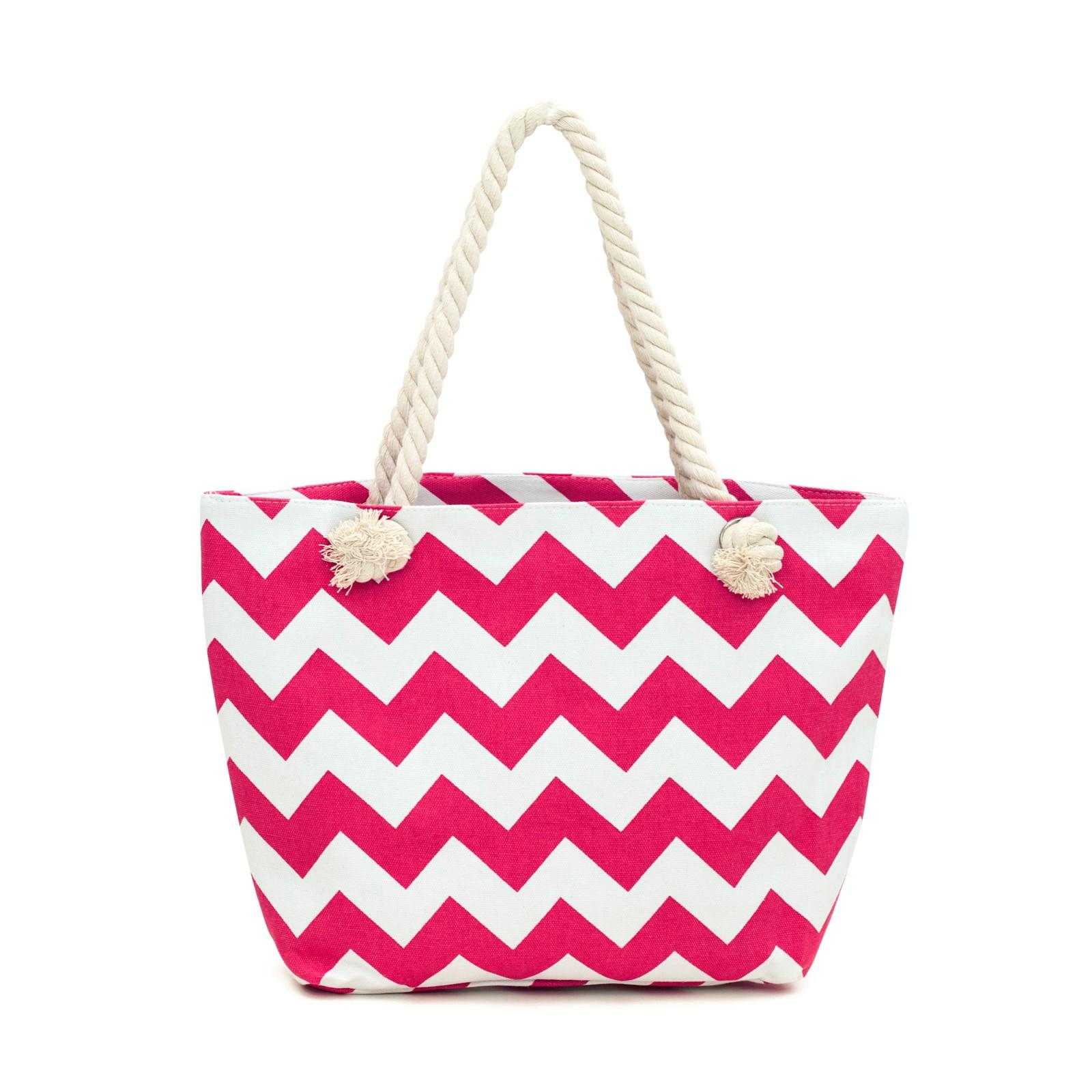 textilni-kabelka-ruzovo-bila-cik-cak-vzor