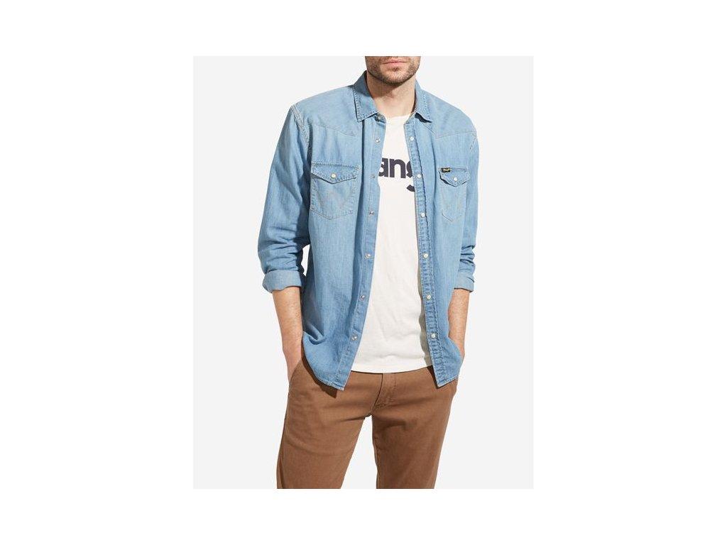 Pánská JEANS košile WRANGLER W5973O74E WESTERN DENIM SHIRT Light Indigo 1d6194d7ac