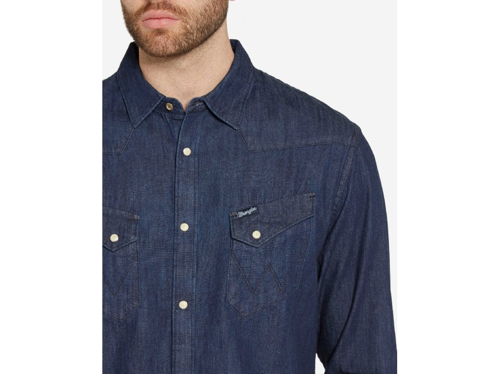 Pánská JEANS košile WRANGLER W5870O61E WESTERN DENIM SHIRT Dark ... 824666eea6