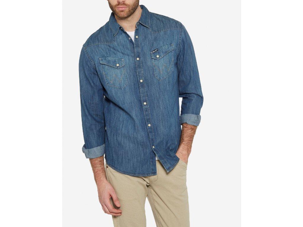 Pánská JEANS košile WRANGLER W5870O68E WESTERN DENIM SHIRT Indigo ... d33225cf10