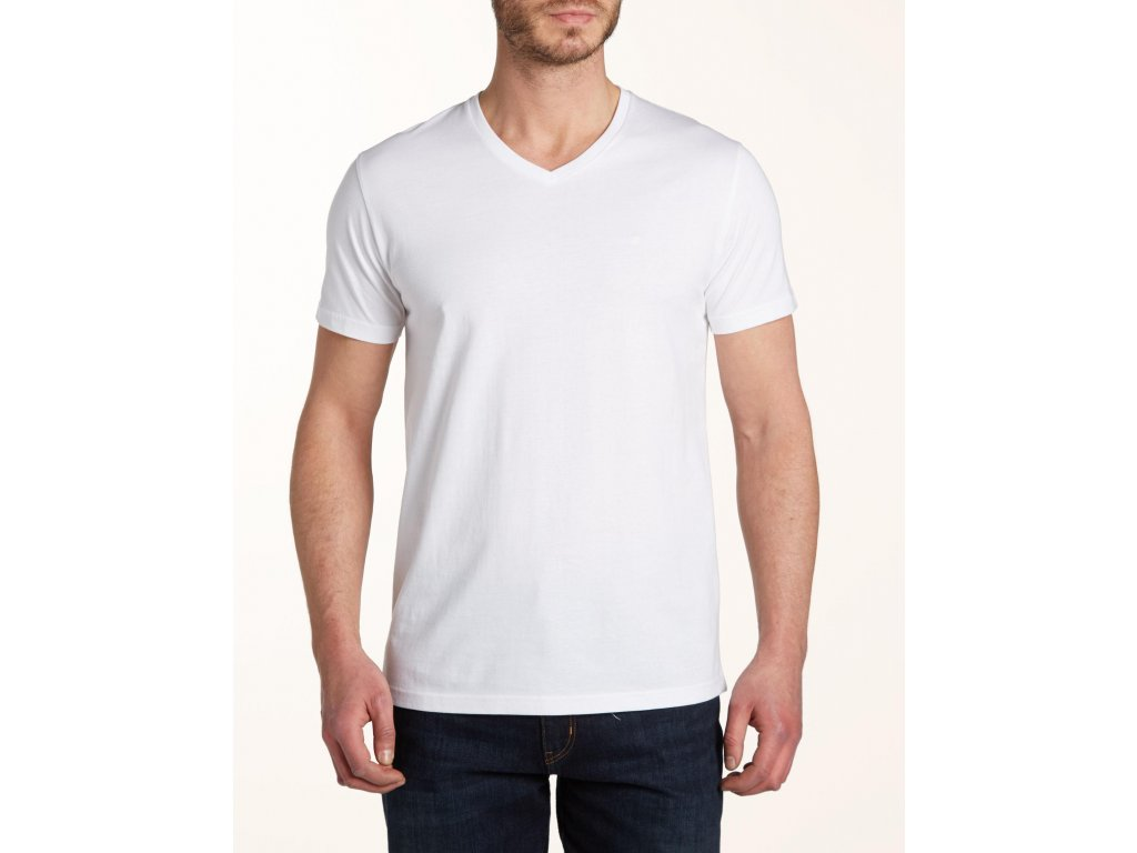 pánské bílé tričko do V