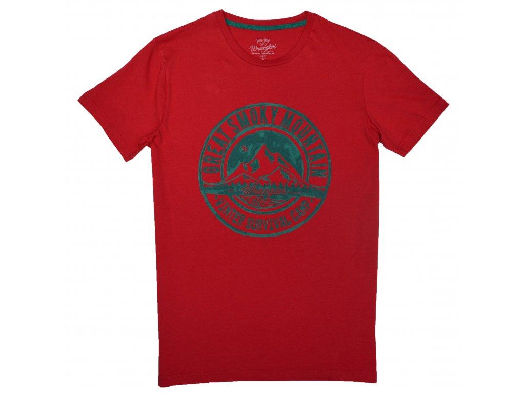 69d0f310f170 Pánské tričko WRANGLER W7902FK9S SLIM FIT Jester red - Obleknete se