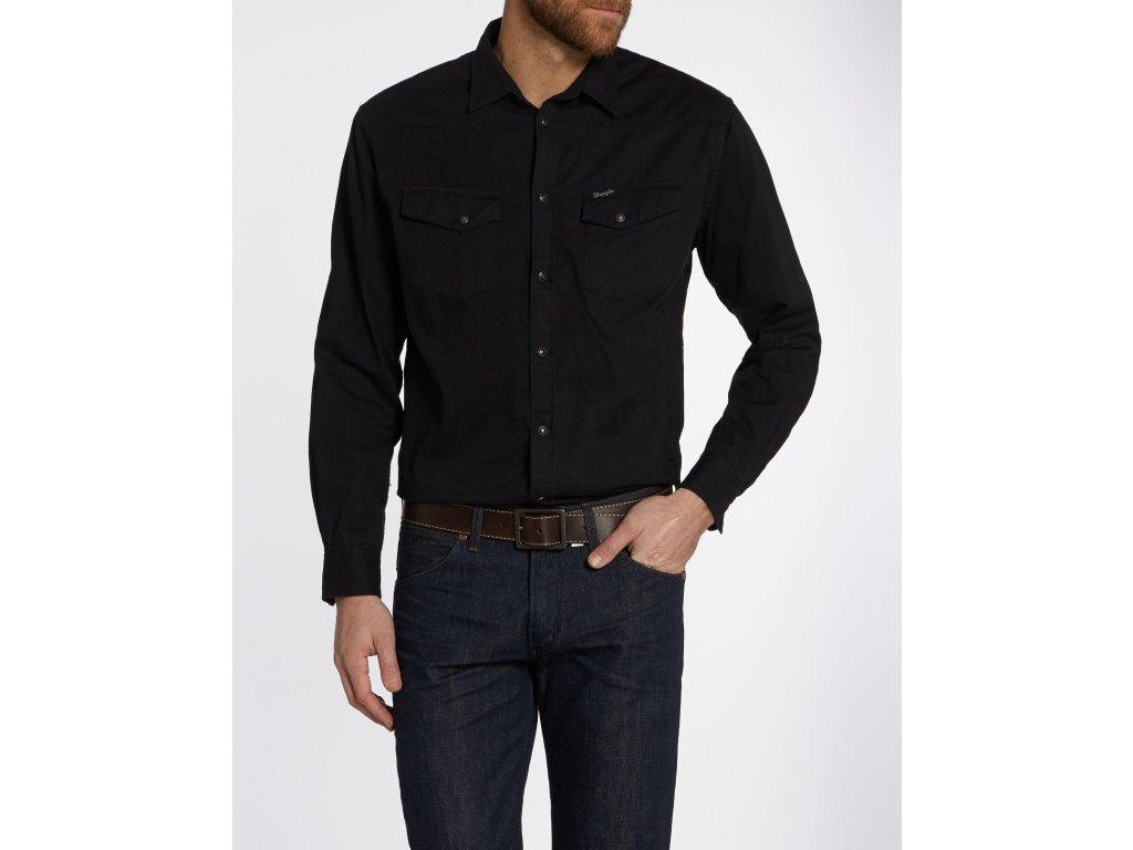 05d5c219946 Pánská košile WRANGLER W57795Y01 REGULAR FIT Black - Obleknete se