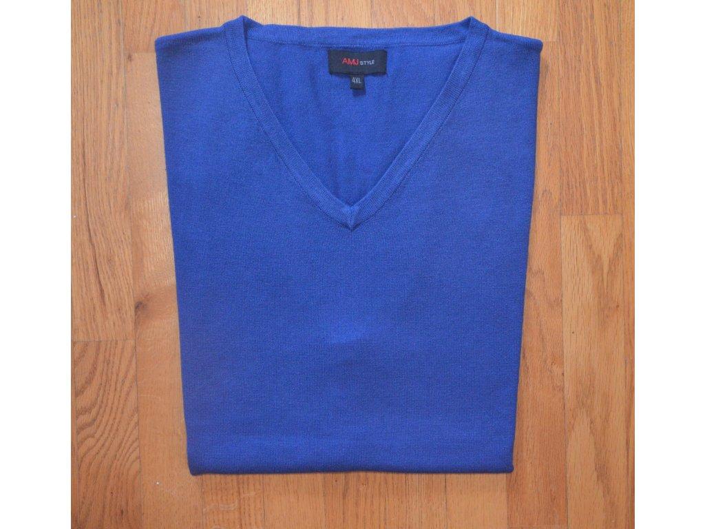 Pánská pletená vesta AMJ modrá 004