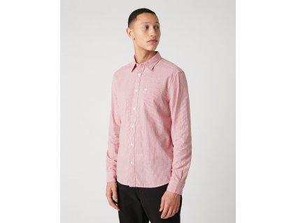 Pánská košile WRANGLER W5A14MX47 LS 1PKT SHIRT Red
