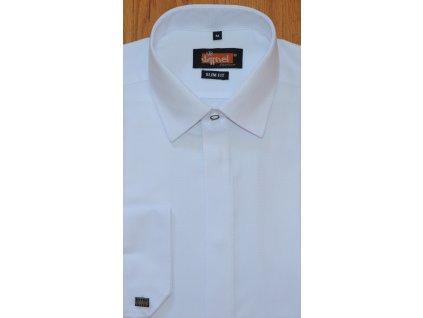 Pánská košile Jamel Fashion 101/01 SLIM FIT Bílá manžetový knoflík zakrytá léga jemný vzor