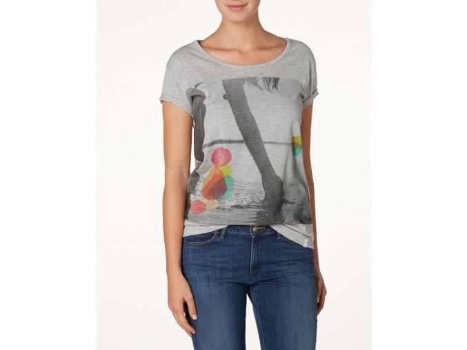Dámské tričko WRANGLER W7275EV37 Mid Grey Melange