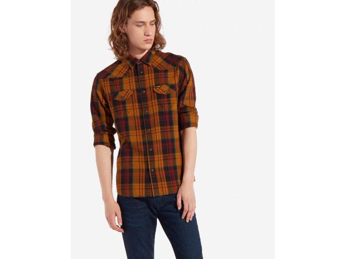 Pánská košile WRANGLER W5973TLVQ REGULAR FIT Golden Brown