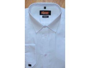 Pánská košile Jamel Fashion 001/20 SLIM FIT Bílá manžetový knoflík