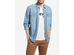 Pánská JEANS košile WRANGLER W5973O74E WESTERN DENIM SHIRT Light Indigo
