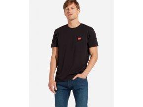 pánské černé triko wrangler W7C07D301