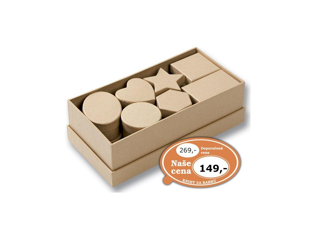 Dárkové krabičky různých tvarů 15 ks/přírodní