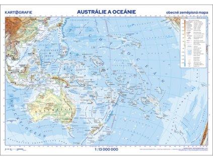 Austrálie a Oceánie nástěnná obecně zeměpisná mapa