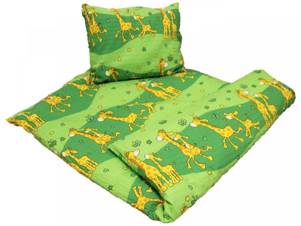 Dětské krepové povlečení Žirafa zelená 1