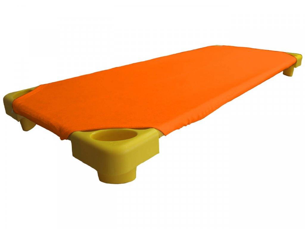 Oranžové froté prostěradlo na lehátka do školky