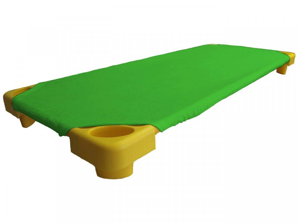 Zelené froté prostěradlo na lehátka do školky